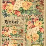 Декупажная карта Желтые розы