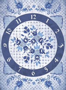 Декупажная карта на рисовой бумаге Часы Гжель