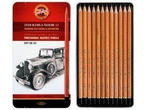 Набор графитовых художественных карандашей, 12 шт. 5В-5Н; 8В-2Н