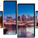Модульная картина Вид на Бруклинский мост ночью 70х100