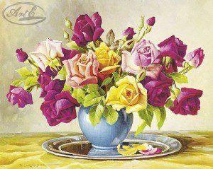 Репродукция Букет разноцветных роз 40х50