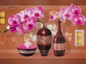 Репродукция Вазон с орхидеями 30х40