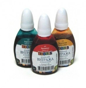 Витражные краски на водной основе, 25мл, Decola