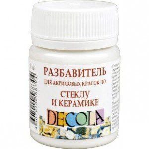 Разбавитель для акриловых красок по стеклу и керамике, 50мл, Decola
